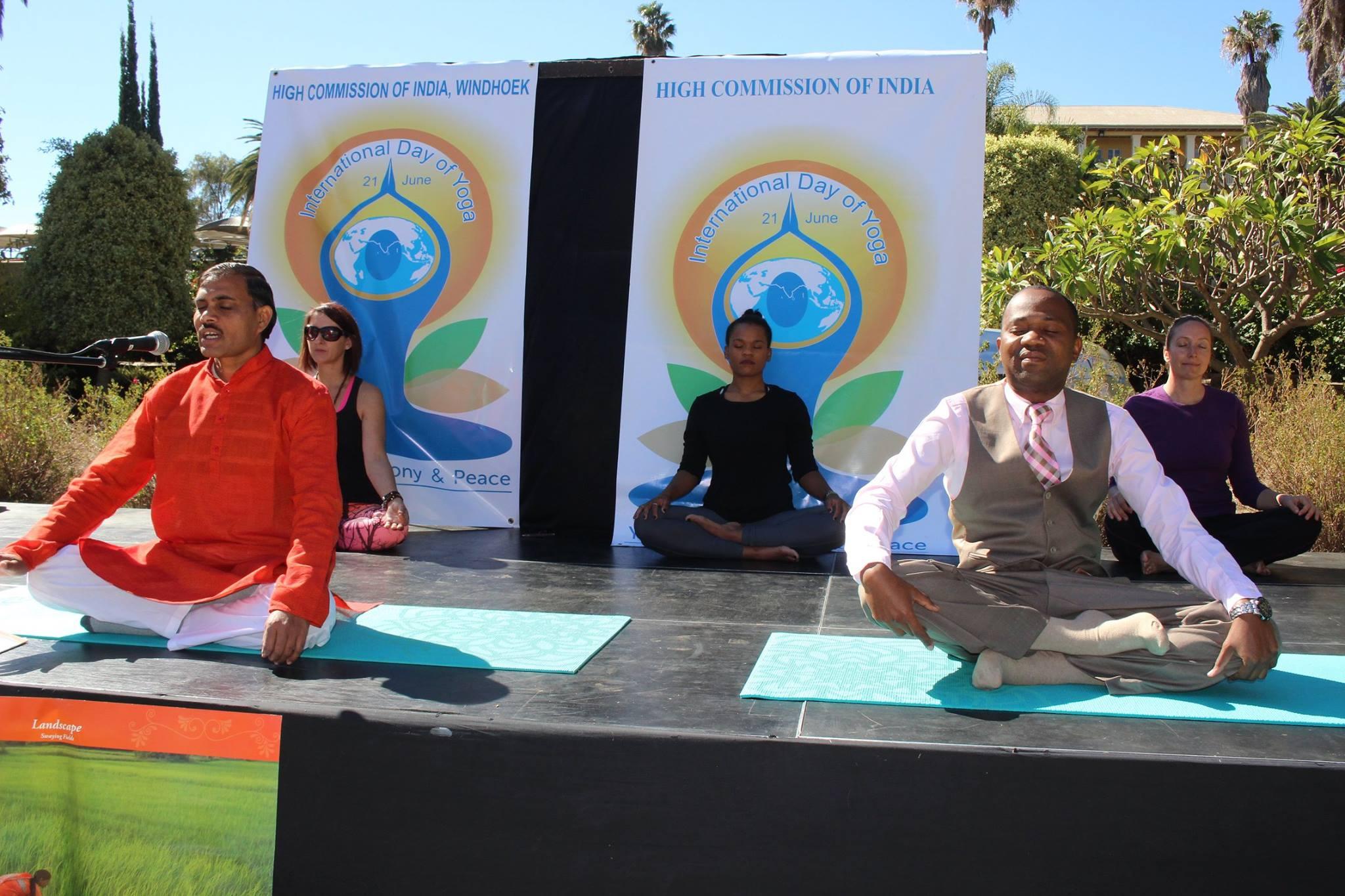 Linda at the International Yoga Day in Windhoek
